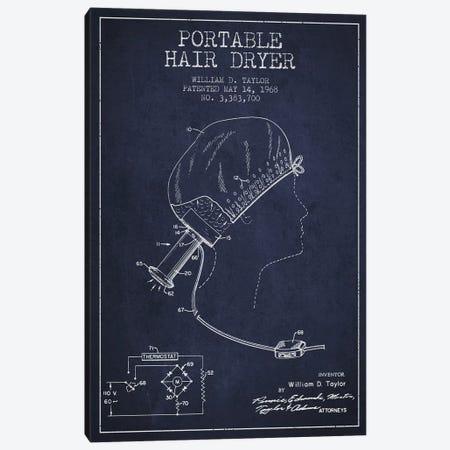 Portable Hair Dryer Navy Blue Patent Blueprint Canvas Print #ADP275} by Aged Pixel Canvas Art Print