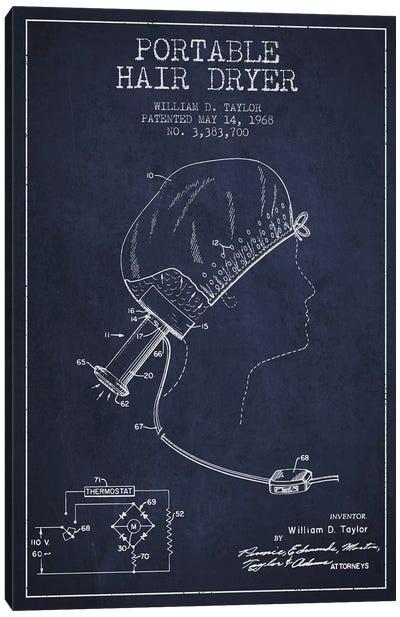 Portable Hair Dryer Navy Blue Patent Blueprint Canvas Art Print