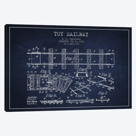 A.R. Fergusson Toy Railway Patent Sketch (Navy Blue) Canvas Print #ADP2760} by Aged Pixel Canvas Print