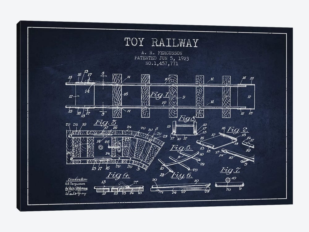 A.R. Fergusson Toy Railway Patent Sketch (Navy Blue) by Aged Pixel 1-piece Art Print