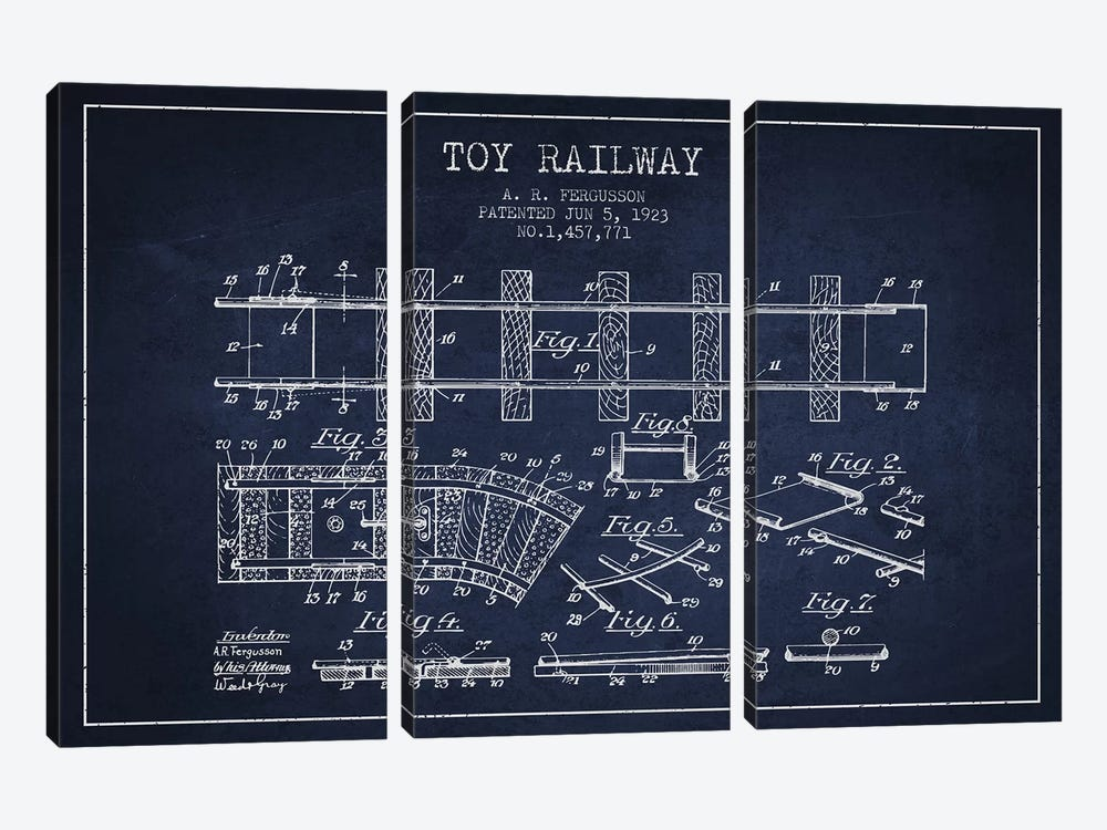 A.R. Fergusson Toy Railway Patent Sketch (Navy Blue) by Aged Pixel 3-piece Canvas Art Print