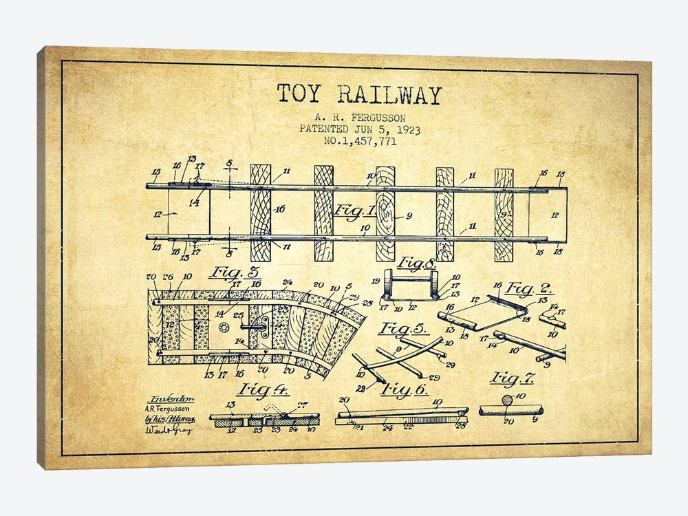 A.R. Fergusson Toy Railway Patent Sketch (Vintage) by Aged Pixel 1-piece Canvas Art