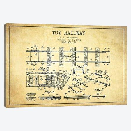 A.R. Fergusson Toy Railway Patent Sketch (Vintage) Canvas Print #ADP2761} by Aged Pixel Canvas Art Print
