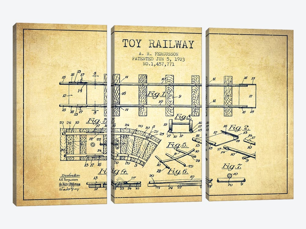 A.R. Fergusson Toy Railway Patent Sketch (Vintage) by Aged Pixel 3-piece Canvas Art