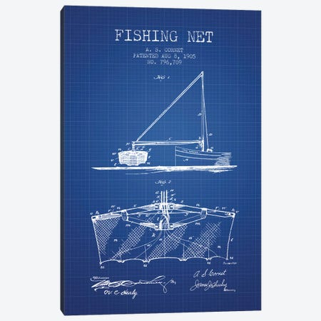 A.S. Cornet Fishing Net Patent Sketch (Blue Grid) Canvas Print #ADP2762} by Aged Pixel Canvas Print