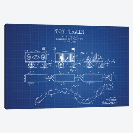 A.W. Benson Toy Train Patent Sketch (Blueprint) Canvas Print #ADP2763} by Aged Pixel Canvas Print