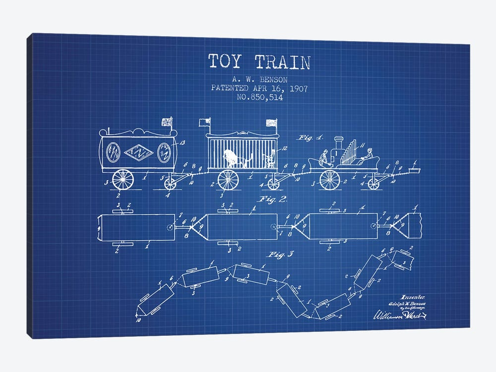 A.W. Benson Toy Train Patent Sketch (Blueprint) by Aged Pixel 1-piece Canvas Artwork