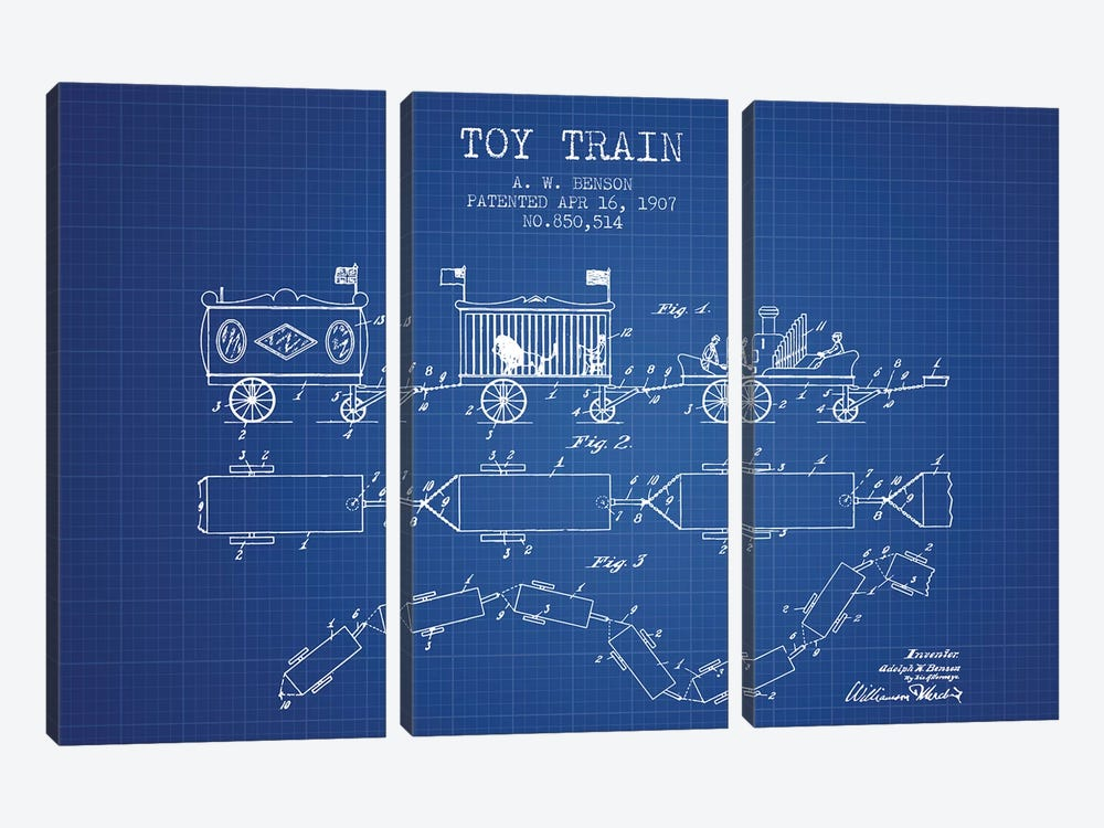A.W. Benson Toy Train Patent Sketch (Blueprint) by Aged Pixel 3-piece Canvas Artwork