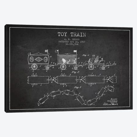 A.W. Benson Toy Train Patent Sketch (Charcoal) Canvas Print #ADP2764} by Aged Pixel Canvas Artwork