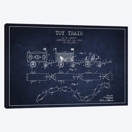 A.W. Benson Toy Train Patent Sketch (Navy Blue) Canvas Print #ADP2765} by Aged Pixel Canvas Wall Art
