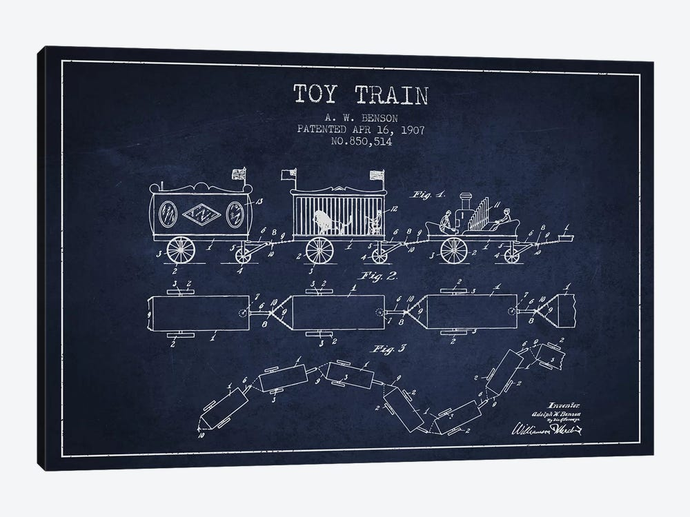 A.W. Benson Toy Train Patent Sketch (Navy Blue) by Aged Pixel 1-piece Canvas Artwork