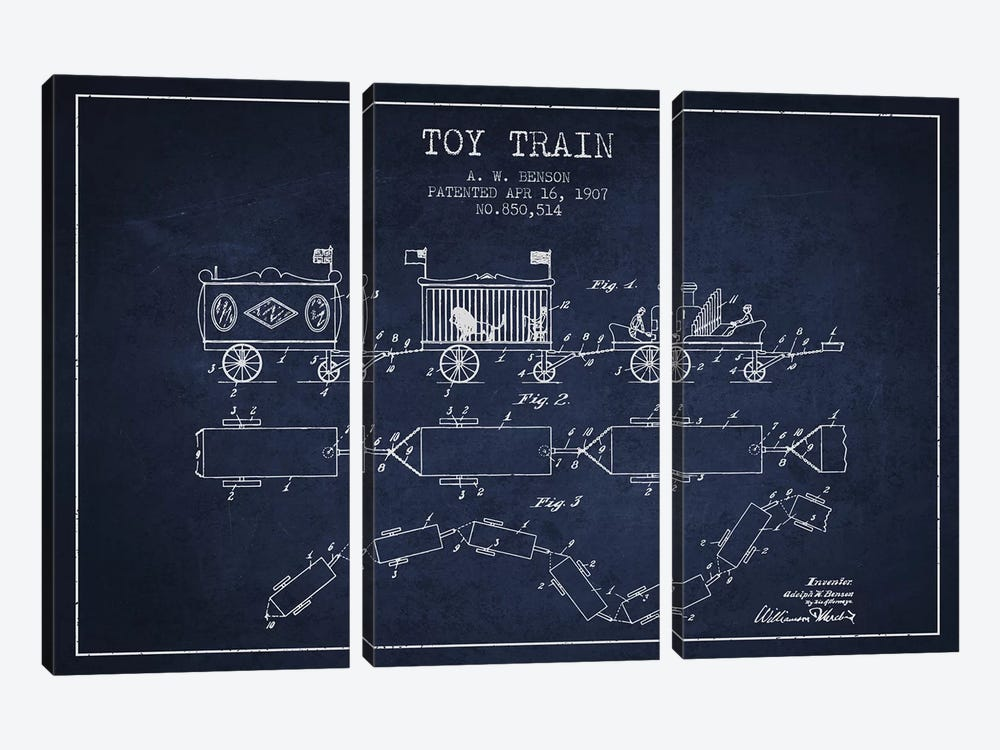 A.W. Benson Toy Train Patent Sketch (Navy Blue) by Aged Pixel 3-piece Canvas Art