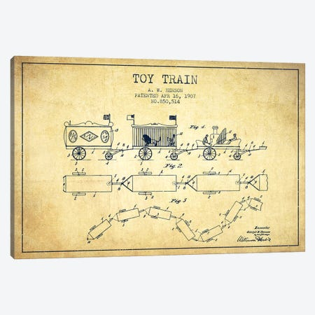 A.W. Benson Toy Train Patent Sketch (Vintage) Canvas Print #ADP2766} by Aged Pixel Canvas Artwork