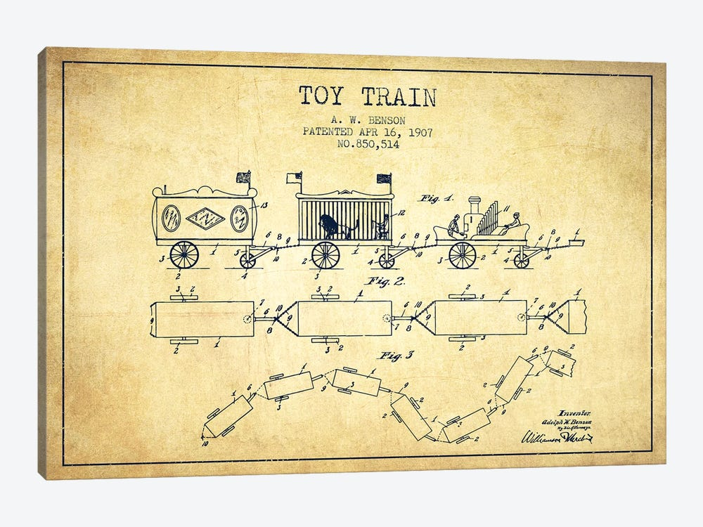 A.W. Benson Toy Train Patent Sketch (Vintage) by Aged Pixel 1-piece Canvas Art Print