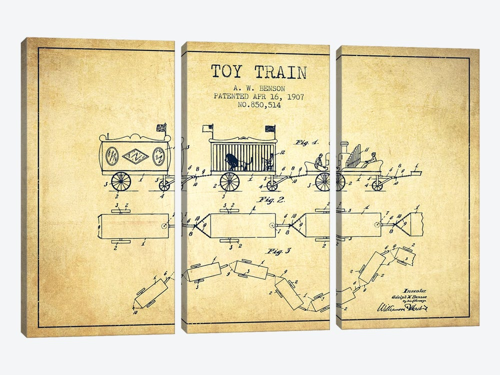 A.W. Benson Toy Train Patent Sketch (Vintage) by Aged Pixel 3-piece Canvas Print