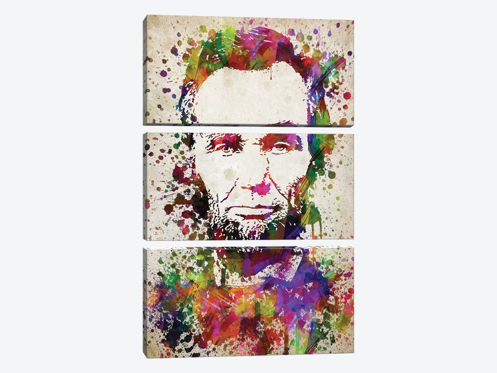 Abraham Lincoln by Aged Pixel 3-piece Canvas Wall Art