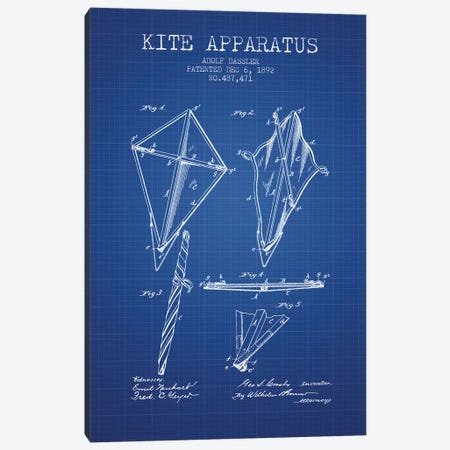 Adolf Dassler Kite Apparatus Patent Sketch (Blue Grid) Canvas Print #ADP2769} by Aged Pixel Art Print