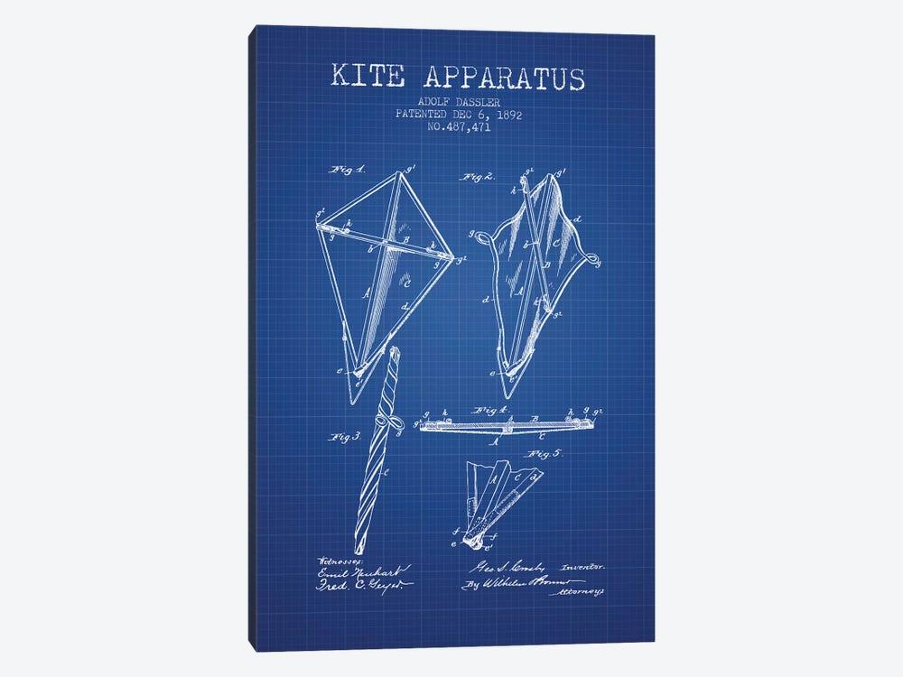 Adolf Dassler Kite Apparatus Patent Sketch (Blue Grid) by Aged Pixel 1-piece Canvas Art