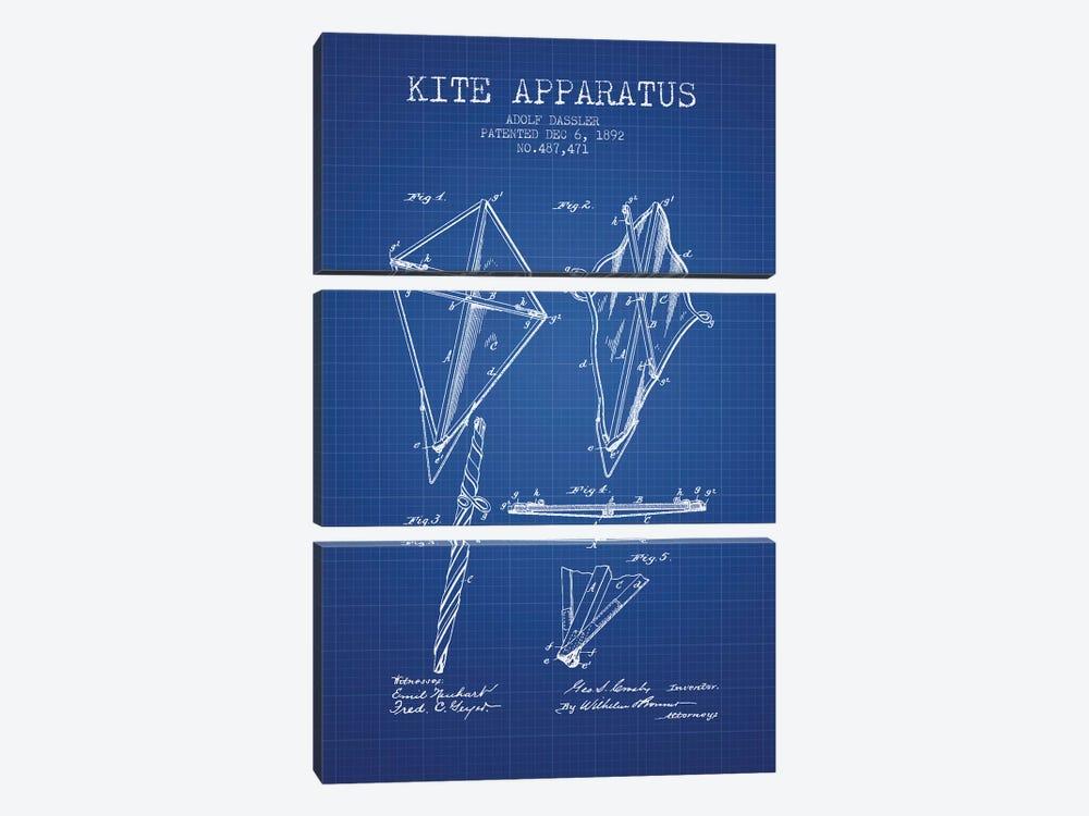 Adolf Dassler Kite Apparatus Patent Sketch (Blue Grid) by Aged Pixel 3-piece Canvas Artwork
