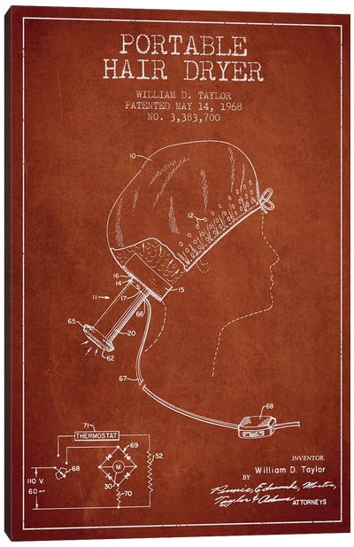 Portable Hair Dryer Red Patent Blueprint Canvas Art Print
