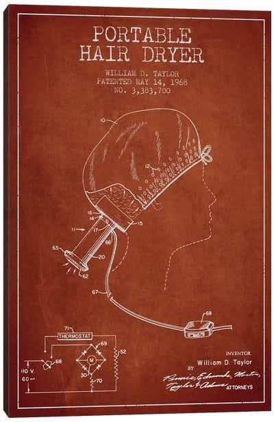 Portable Hair Dryer Red Patent Blueprint Canvas Print #ADP276