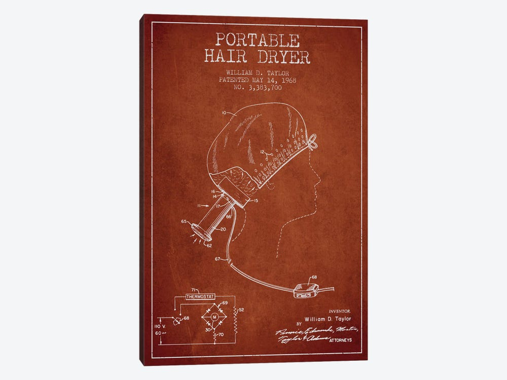 Portable Hair Dryer Red Patent Blueprint by Aged Pixel 1-piece Canvas Art Print