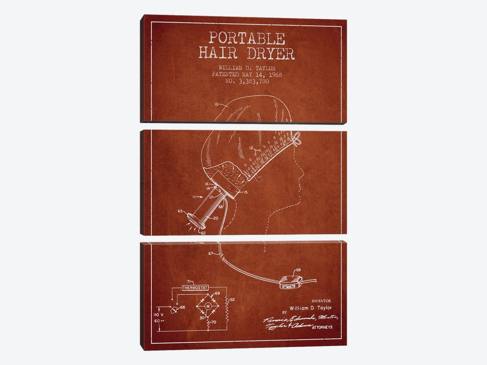 Portable Hair Dryer Red Patent Blueprint by Aged Pixel 3-piece Canvas Print