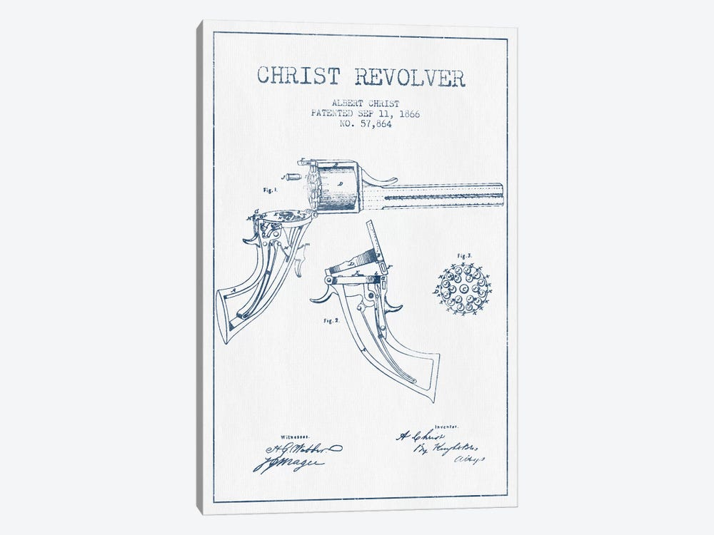 Albert Christ Christ Revolver Patent Sketch (Ink) by Aged Pixel 1-piece Canvas Wall Art