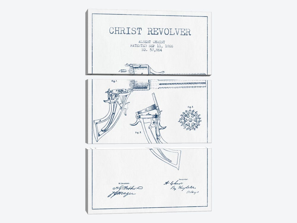 Albert Christ Christ Revolver Patent Sketch (Ink) by Aged Pixel 3-piece Canvas Artwork
