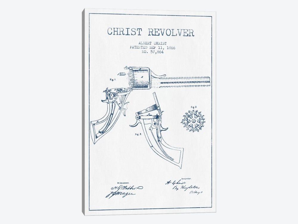 Albert Christ Christ Revolver Patent Sketch (Ink) by Aged Pixel 1-piece Canvas Wall Art