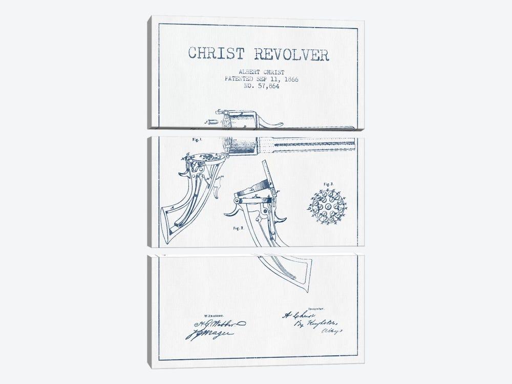 Albert Christ Christ Revolver Patent Sketch (Ink) by Aged Pixel 3-piece Canvas Artwork