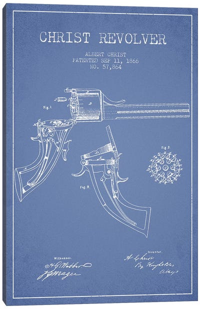 Albert Christ Christ Revolver Patent Sketch (Light Blue) Canvas Art Print