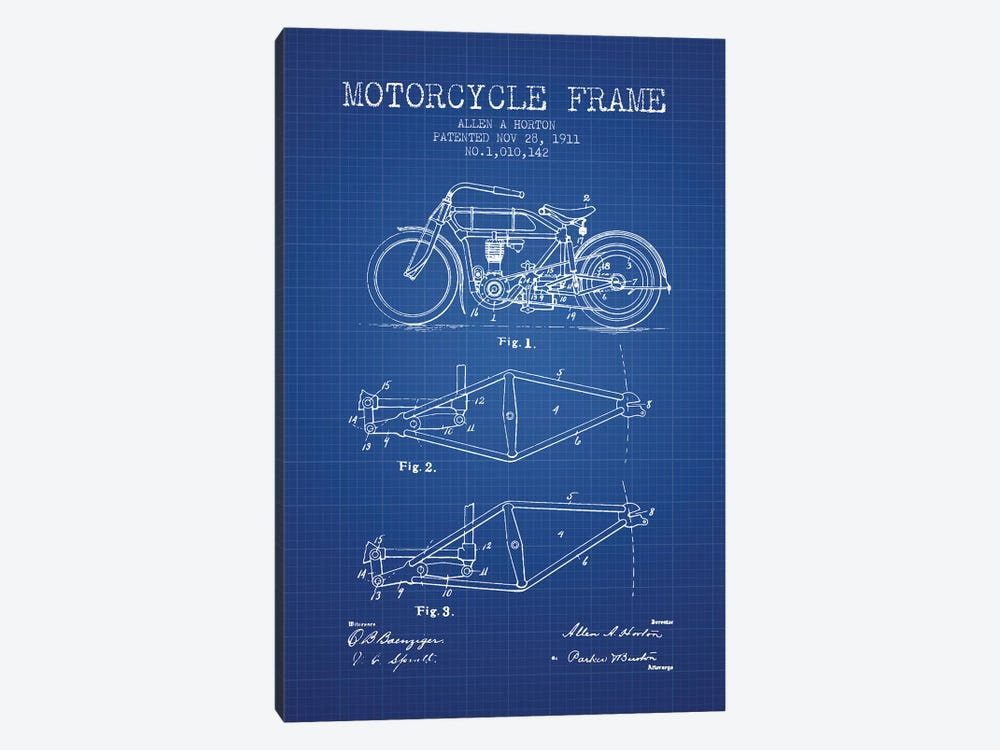 Allen A. Horton Motorcycle Frame Patent Sketch (Blue Grid) by Aged Pixel 1-piece Canvas Artwork