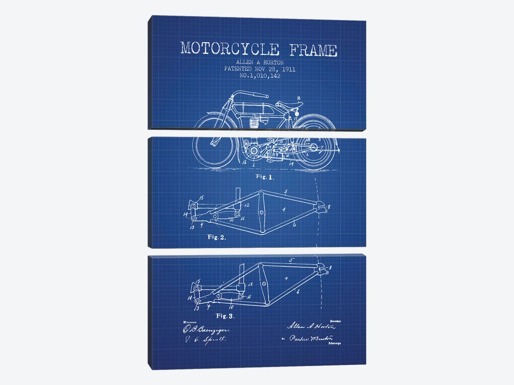 Allen A. Horton Motorcycle Frame Patent Sketch (Blue Grid) by Aged Pixel 3-piece Canvas Artwork