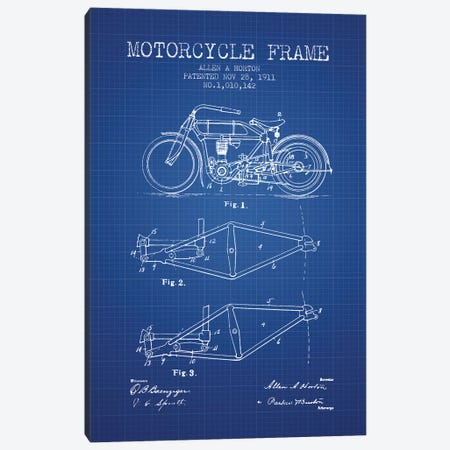 Allen A. Horton Motorcycle Frame Patent Sketch (Blue Grid) Canvas Print #ADP2774} by Aged Pixel Art Print