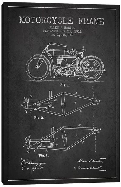 Allen A. Horton Motorcycle Frame Patent Sketch (Charcoal) Canvas Art Print