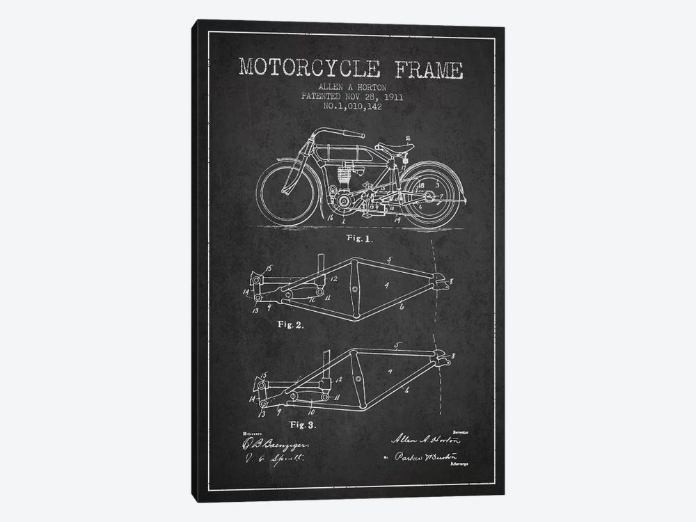 Allen A. Horton Motorcycle Frame Patent Sketch (Charcoal) by Aged Pixel 1-piece Art Print