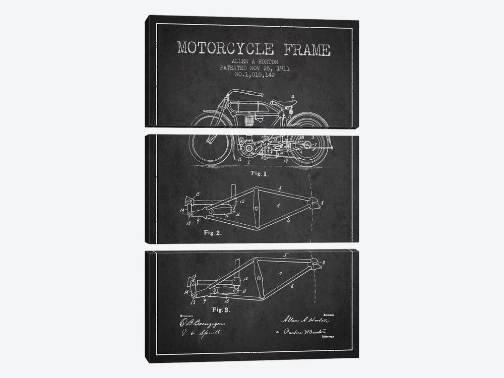 Allen A. Horton Motorcycle Frame Patent Sketch (Charcoal) by Aged Pixel 3-piece Canvas Print