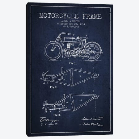 Allen A. Horton Motorcycle Frame Patent Sketch (Navy Blue) Canvas Print #ADP2777} by Aged Pixel Canvas Art Print