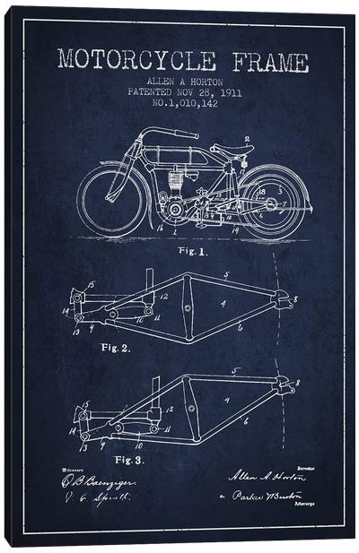 Allen A. Horton Motorcycle Frame Patent Sketch (Navy Blue) Canvas Art Print