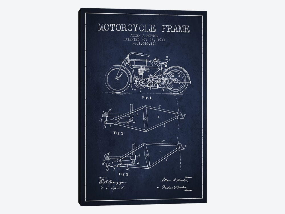 Allen A. Horton Motorcycle Frame Patent Sketch (Navy Blue) by Aged Pixel 1-piece Canvas Print