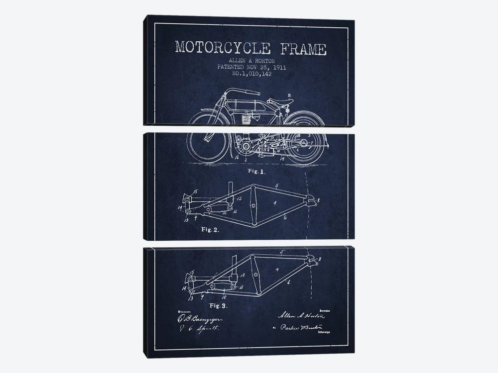 Allen A. Horton Motorcycle Frame Patent Sketch (Navy Blue) by Aged Pixel 3-piece Art Print