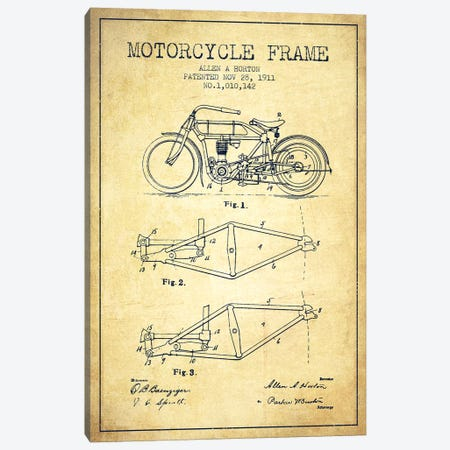 Allen A. Horton Motorcycle Frame Patent Sketch (Vintage) Canvas Print #ADP2778} by Aged Pixel Canvas Wall Art