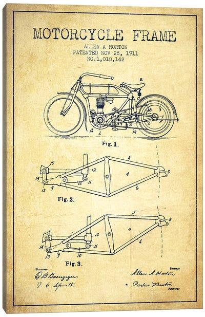 Allen A. Horton Motorcycle Frame Patent Sketch (Vintage) Canvas Art Print