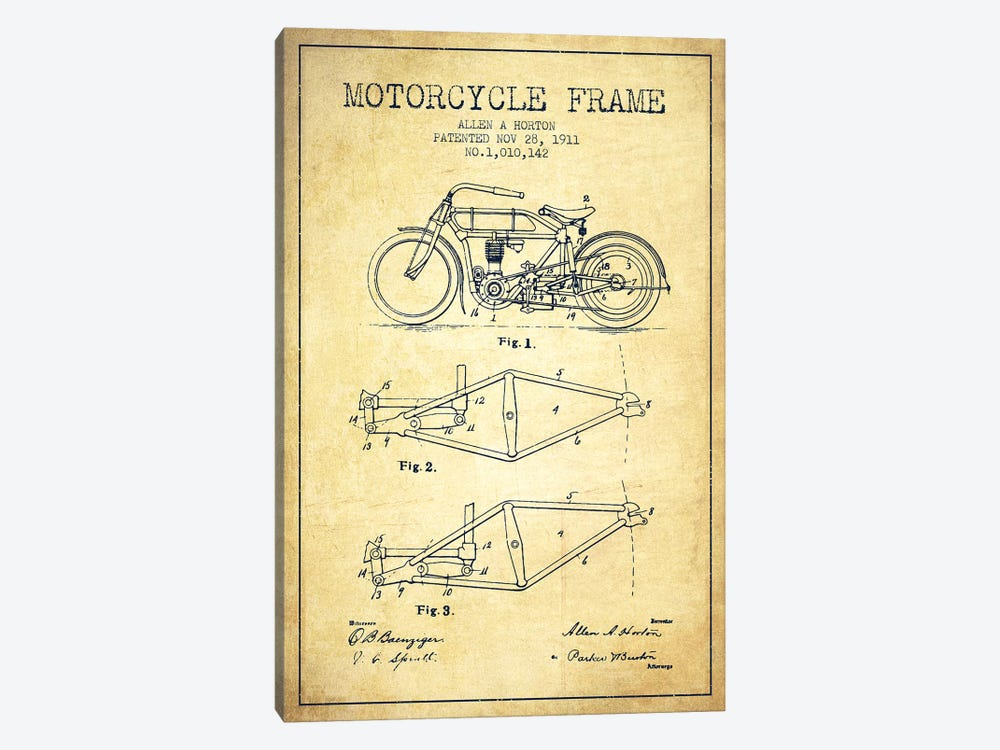 Allen A. Horton Motorcycle Frame Patent Sketch (Vintage) by Aged Pixel 1-piece Canvas Wall Art