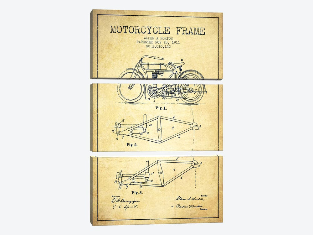 Allen A. Horton Motorcycle Frame Patent Sketch (Vintage) by Aged Pixel 3-piece Canvas Wall Art