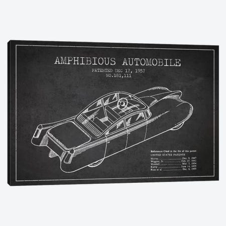 Amphibious Automobile Patent Sketch (Charcoal) I Canvas Print #ADP2779} by Aged Pixel Canvas Art