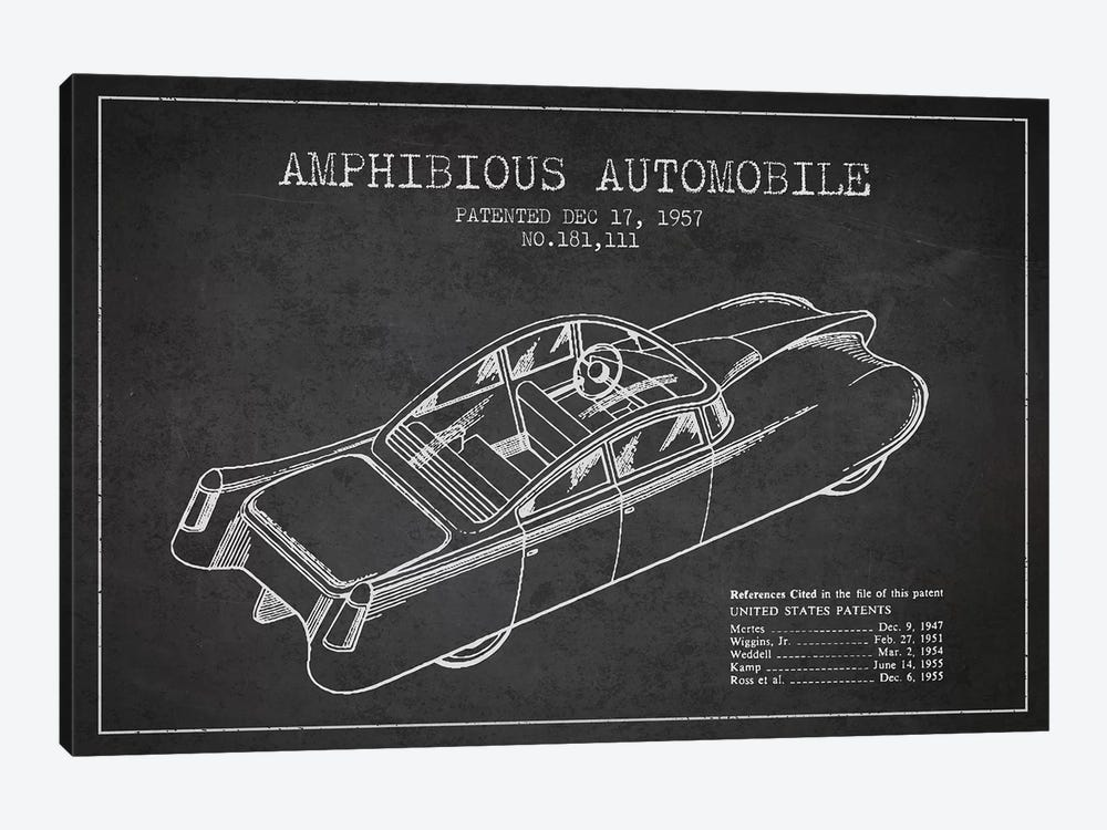 Amphibious Automobile Patent Sketch (Charcoal) I 1-piece Art Print