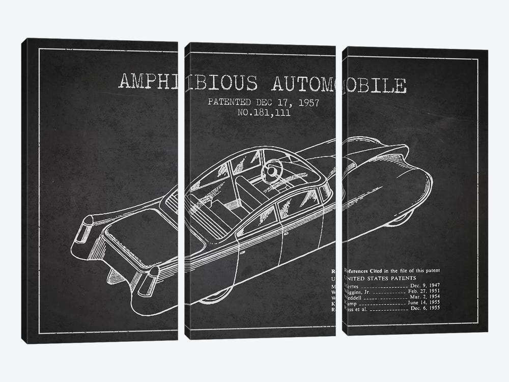 Amphibious Automobile Patent Sketch (Charcoal) I 3-piece Art Print