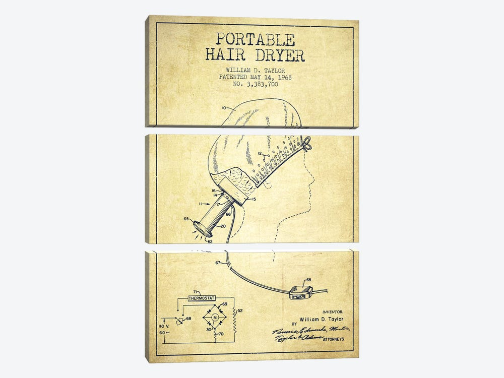 Portable Hair Dryer Vintage Patent Blueprint by Aged Pixel 3-piece Canvas Artwork